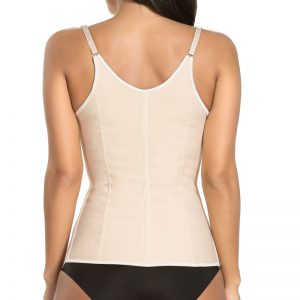 P506 Colombian Latex Waist Trainer Vest with Straps Perfect Curves Cincher for Weight Loss Beige Color Back