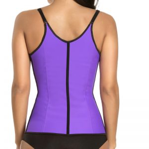 P506 Colombian Latex Waist Trainer Vest with Straps Perfect Curves Cincher for Weight Loss Purpkle Color Back