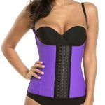 P506 Colombian Latex Waist Trainer Vest with Straps Perfect Curves Cincher for Weight Loss Purple Color