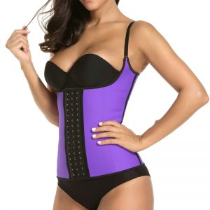 P506 Colombian Latex Waist Trainer Vest with Straps Perfect Curves Cincher for Weight Loss Purple Color Side