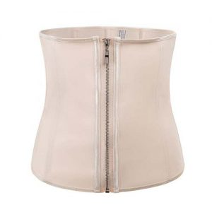 p503 latex waist trainer with zipper color beige