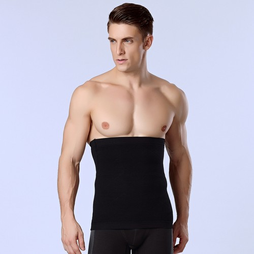 P518 Male Waist Trainer Belt Weight Loss High Compression Body Shaper Undergarment Black