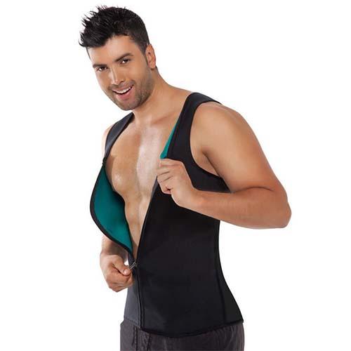 P521 Zipper Male Waist Trainer Ultra Thermo Sweat Neoprene Weight Loss Full Body Shaper Corset Reversible Vest Display 6